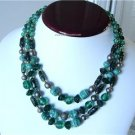 Vintage Green Art Glass Beads Necklace Bib 3 Rows 70's
