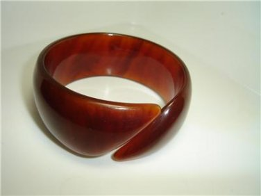 Vintage  Root Beer Open Wide Bracelet Bangle Lucite