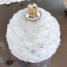 "Vintage White Ribbon Spaghetti Spun Lucite 7"" Ball Lamp Faplex"