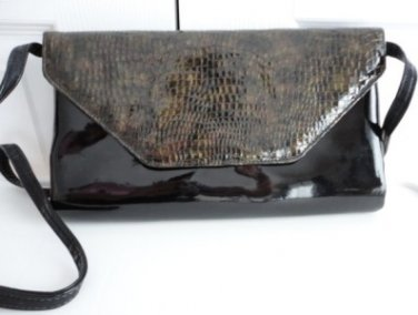 Vintage Black Patent/ Faux Snakeskin Leather Clutch Purse 70s Naturalizer
