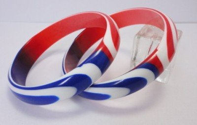 Vintage 2 Patriotic Red, White, Blue Sliced Lucite Bangles Bracelets 60s
