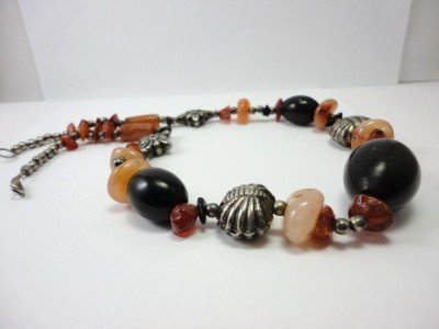 Vintage Quartz Stones & Wood & Silver Mixed Beads Necklace 60's
