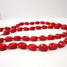 Vintage Sexy Red Twisted Glass Beads Necklace 60's