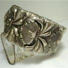 Vintage Vargas Repousse Silvertone Cuff Bracelet 50's