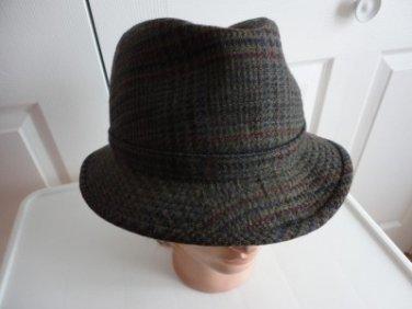Vintage Brown 100% Wool Tweed Men Hat 7 M Simons Christie London England