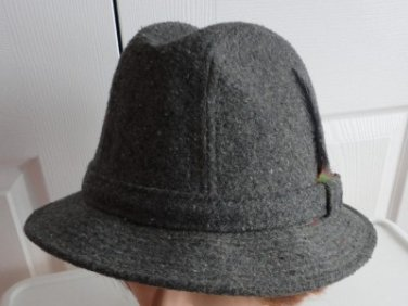 Vintage Grey Wool Blend Tweed Men Hat 7¼ Large 22 5/8 Inches London Fog
