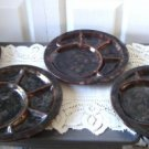 Vintage Beauceware Brown  4 Sushi/Fondue Plates 1792