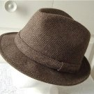 Vintage Men Hat Brown Wool Blend Tweed Mid-Way Small