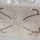 Vintage Beaded Faux Pearl Small Change Purse Wallet 60's Cell Phone/Cards
