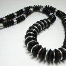 Vintage Black Plastic Rondelles Beads Necklace