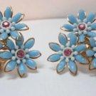 Vintage Light Blue Flowers On Goldtone Clip Earrings Alice So Feminine!