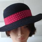 Vintage Navy Straw Wide Rim Women Hat Georgette Small Made in Canada