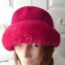 Vintage Raspberry Red Felt/Feathers/Netting Women Hat S Ellen Faith New York