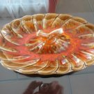 Vintage Orange/Brown Abstract Serving Dish Calif 70's Retro