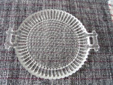 Vintage Glass Thousand Eyes Pattern Serving Plate