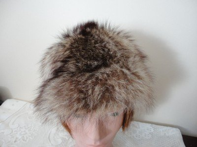 Vintage Gorgeous Raccoon Fur Women Hat S 21¾ Kate Made in Canada
