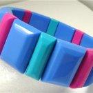 Vintage Lucite Blue/ Pink/Green Stretch Bracelet Avon