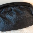 Vintage Black Lucite Frame & Fabric Puffy  Clutch Purse Made in Italy Excellent