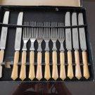 Vintage Yellow Art Deco Design Bakelite Steak Knives/Forks 11 pcs Made Canada