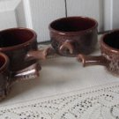 Vintage 4 Mottled Brown Onion Soup Dish Beauceware