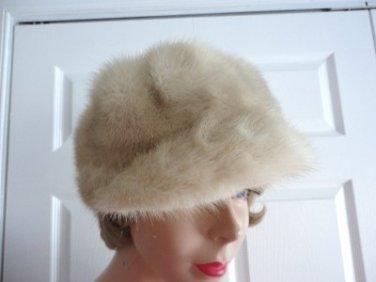 Vintage Genuine Pastel Cross Mink Women Hat/Cap  Small 21 1/2 in Made Canada