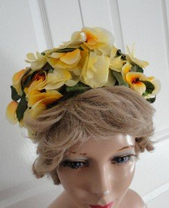 Vintage Yellow Flowers Pillbox Hat 50's Créations Pierrette Made in Canada
