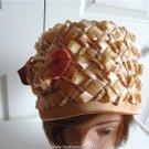 """Vintage Beige Straw Women Bucket Hat Medium  22 Inches  60""""s"""