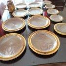 Vintage Laurentian Pottery Lava  Yellow/Brown 14 pieces Lot 70's