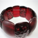 Vintage Red Chunky Clear Lucite Stretch Bracelet Mate & Spotted Finish 60's