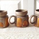 Vintage Laurentian Pottery Lava  Yellow/Brown 3 Cups 70's