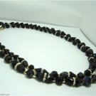 Vintage Black Plastic Necklace 2 Rows Great Clasp,