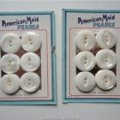 Vintage Lot 2 Cards/6 Buttons ¾ inch 2 holes American Maid Pearls USA Made
