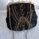 Vintage Beaded Black Satin Goldtone/Bronze Evening Clutch Purse Made in China