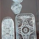 Vintage EAPG 3 pcs lot Star of David Butter Covered Dish, Cruet/Stopper, Tray