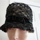 Vintage Black Straw Women Hat Extra Small  20¼  Canada 60's