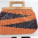 Vintage Orange/ Multicolor Hand Woven Fabric Cabas/Purse Llight Wood Handles