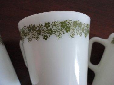 Vintage 3 Pyrex Green Floral Design Coffee Mugs Corning USA