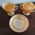 Vintage Fire King Peach Lustre 3 pcs Lot Creamer Sugar & Dish