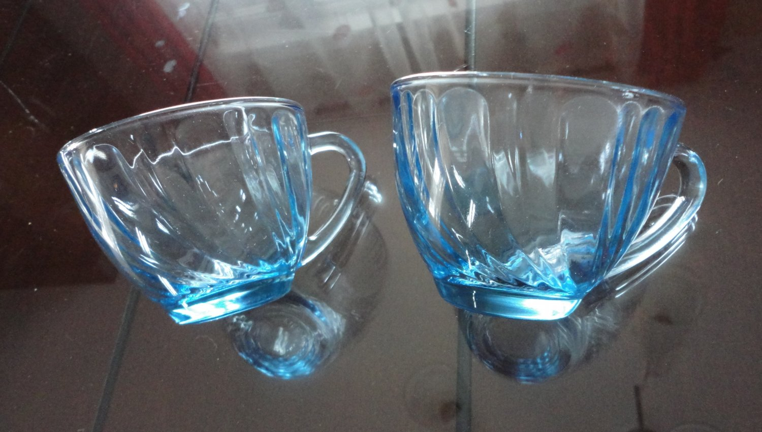 Vintage Blue Swirl Glass 2 Cups Hazel-Atlas