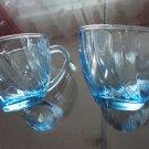 Vintage Blue Swirl Glass 2 Cups Hazel-Atlas