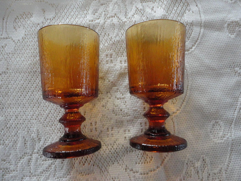 Vintage Amber 2 Footed Glasses