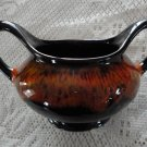 Vintage Brown & Orange Drip Pottery Open Sugar Dish Evangeline