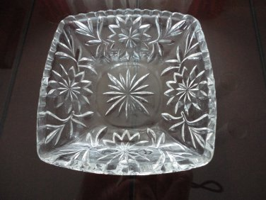 Vintage Square Clear Glass EAPG Dish Star Design
