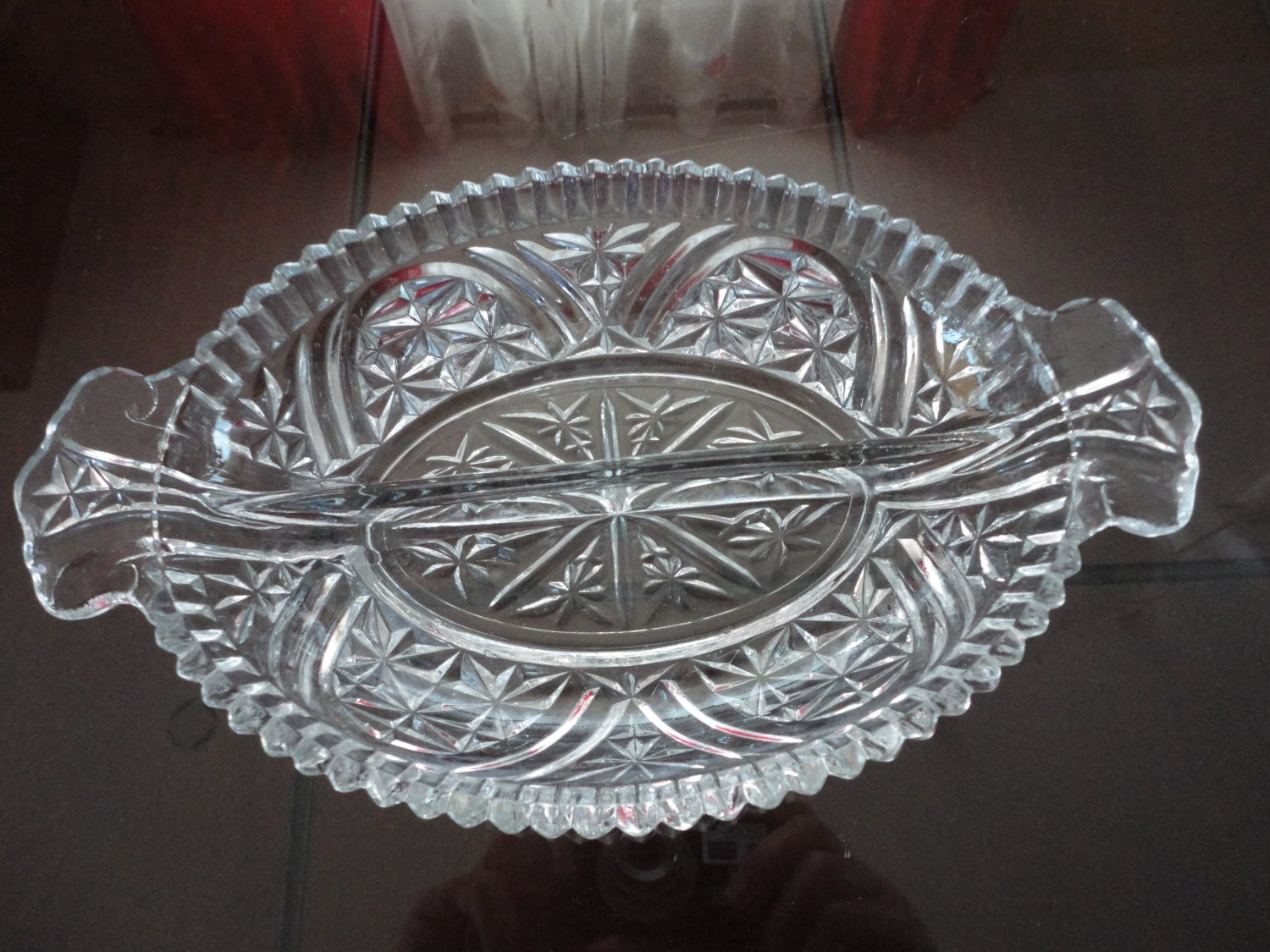 Vintage Pressed Glass Diamond Pattern Divided Celery Dish