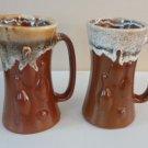 Vintage Laurentian Pottery Brown Lava Drip Bowling 2 Mugs