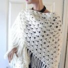 Vintage White Hand Made Shawl Boho Look