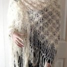 Vintage Handmade Crocheted Square Shawl Cream Yarn