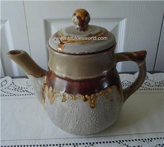 Vintage Quebec Laurentian Pottery Teapot Lava Pattern TUNDRA 70`s