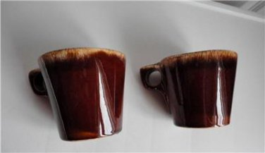 Vintage  Brown Drip Hull Pottery 2 Mugs