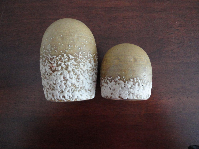 Salt & Pepper Shakers Pottery Lava Lgt Brown Canada